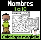 FRENCH Color BY Number Sense   Coloriage magique Nombres 1-10 Distance Learning