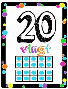 FRENCH Colorful Polka-dot Numbers 1 - 20