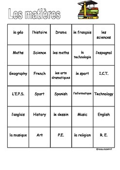 FRENCH - COLOUR MATCH - Les Matières (School subjects)