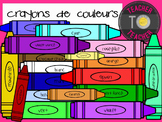 FRENCH Colouring Crayon Clipart {TeacherToTeacher Clipart}