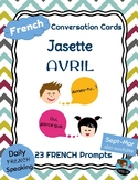 FRENCH Conversation Cards - Jasette - APRIL Speaking Prompts