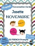FRENCH Conversation Cards - Jasette - NOVEMBER Speaking Prompts