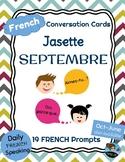 FRENCH Conversation Cards - Jasette - SEPTEMBER Speaking Prompts