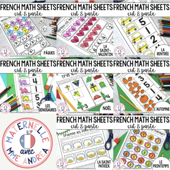 FRENCH Cut & Paste No Prep Math Worksheets - THE BUNDLE (maternelle)