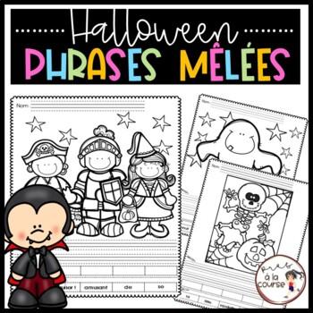 FRENCH Cut and Paste Sentence Halloween /Découpe, colle et écris- Phrases mêlées