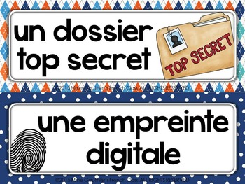 FRENCH DETECTIVE WORD WALL - MISSION SECRETE
