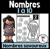 FRENCH Dab Gumball Numbers 1-10 / Tamponne les nombres savoureux 1-10