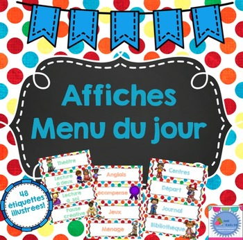 FRENCH Daily Schedule Cards- Colourful Polka dots/Menu du jour {Horaire}