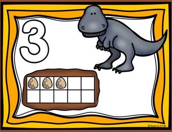 FRENCH Dinosaurs Playdough Mats/ Nombres Dinosaures en pâte à modeler