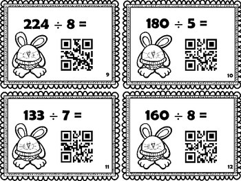 Cartes à tâches : Division des nombres de 3 chiffres (avec code QR)