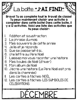 """FRENCH EARLY FINISHERS LA BOÎTE """"J'AI FINI!"""" - DÉCEMBRE (12 ACTIVITÉS)"""