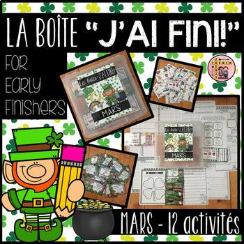 """FRENCH EARLY FINISHERS LA BOÎTE """"J'AI FINI!"""" - MARS (12 ACTIVITÉS)"""