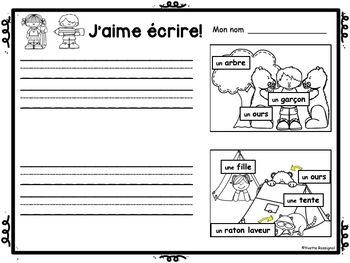FRENCH EMERGENT WRITING PROMPTS (Gratuit) écriture, French Immersion