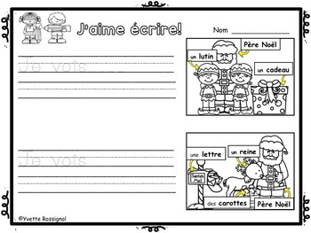 FRENCH EMERGENT WRITING PROMPTS (Jours de fêtes) écriture, French Immersion