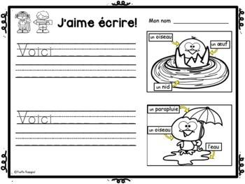 FRENCH EMERGENT WRITING PROMPTS (Le printemps, L'été) écriture, French Immersion