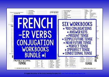 FRENCH -ER VERBS CONJUGATION WORKBOOK BUNDLE #1
