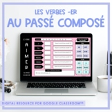 FRENCH -ER Verb Game (au passé composé) for Google Classroom™ Distance Learning