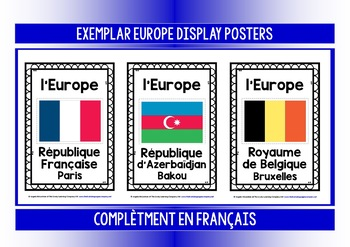 FRENCH - EUROPE 70 COUNTRY, CAPITALS & FLAGS POSTERS & 4 QUIZZES - EN FRANÇAIS !