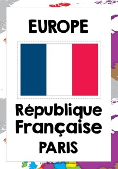 FRENCH - EUROPE COUNTRIES, CAPITALS & FLAGS POSTERS / FLASHCARDS - EN FRANÇAIS!