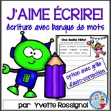 FRENCH EVERYDAY WRITING PROMPTS with word bank ÉCRITURE POUR TOUS LES JOURS