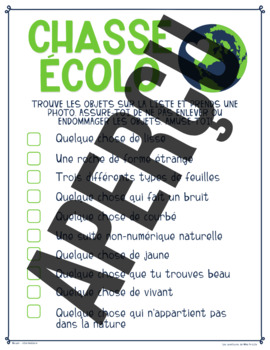 FRENCH Earth Day/Jour de la Terre Scavenger Hunt ALL GRADES