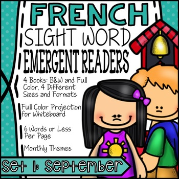FRENCH Books for Emergent Readers - High Frequency Words Set #1: September