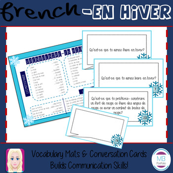 FRENCH- En hiver VOCAB MAT & CONVERSATION CARDS