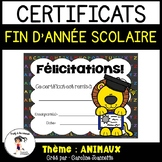 FRENCH End of Year Awards- Animal Theme/ Certificats de fin d'année - Animaux