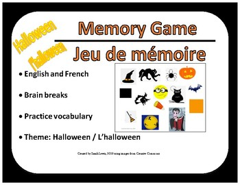 FRENCH & English - Halloween Memory Game