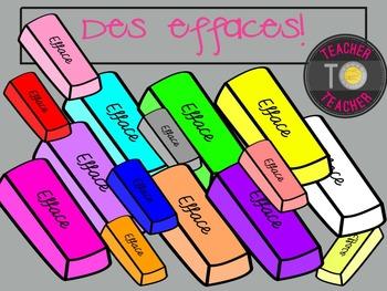 FRENCH Erasers {TeacherToTeacher Clipart}