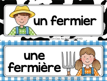 FRENCH FARM ANIMAL WORD WALL - À LA FERME