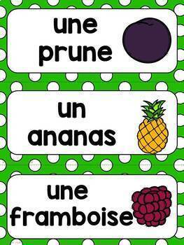 FRENCH FOOD Word Wall Cards /  Nourriture - Mots de vocabulaire