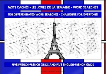 FRENCH FOR CHILDREN - 10 DIFFERENTIATED WORD SEARCHES - DAYS OF THE WEEK