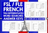 ELEMENTARY FRENCH DAYS OF THE WEEK WORD SEARCHES