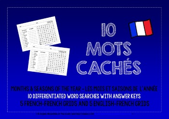 FRENCH FOR CHILDREN - 10 DIFFERENTIATED WORD SEARCHES - MONTHS & SEASONS