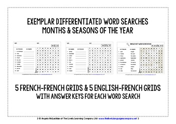 FRENCH FOR CHILDREN - 20 DIFFERENTIATED WORD SEARCHES - DAYS, MONTHS, SEASONS