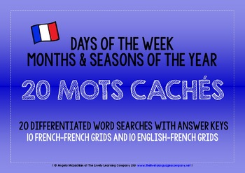 FRENCH DAYS, MONTHS, SEASONS 20 DIFFERENTIATED WORD SEARCHES