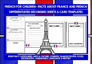FRANCE COUNTRY FACTS TASK CARDS, RECORDING SHEETS, DISCUSSION ACTIVITY