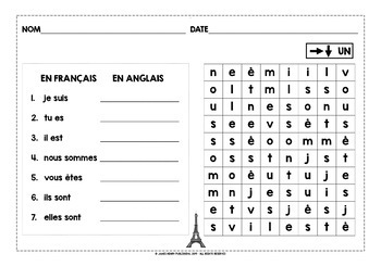 FRENCH FOR CHILDREN - ÊTRE & AVOIR - 10 DIFFERENTIATED WORD SEARCHES
