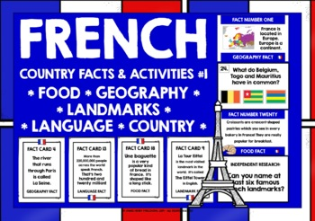 FRANCE COUNTRY FACTS TASK CARDS, RECORDING SHEETS, DISCUSSION ACTIVITY (1)