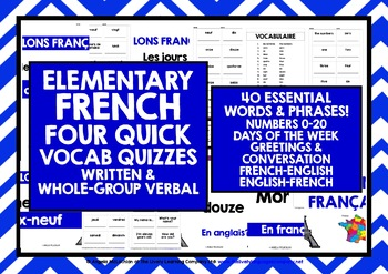 ELEMENTARY FRENCH VOCABULARY QUIZZES 1