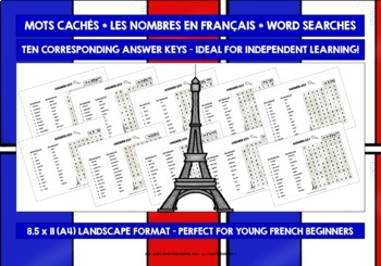 FRENCH FOR CHILDREN NUMBERS 0-20 - TEN DIFFERENTIATED WORD SEARCHES & ANSWER KEY