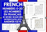 FRENCH NUMBERS 0-20 WORD SEARCHES