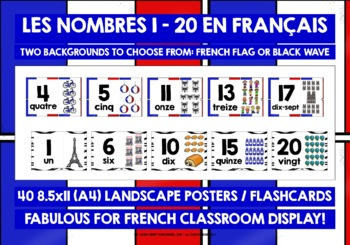 FRENCH NUMBERS 1-20 POSTERS / FLASHCARDS