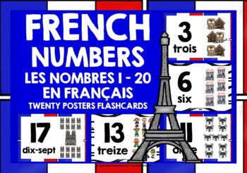 FRENCH NUMBERS 1-20 FLASHCARDS POSTERS