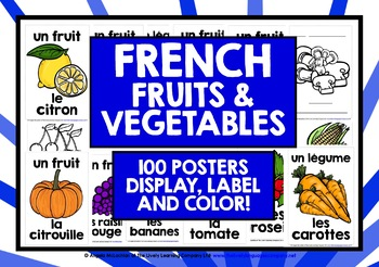FRENCH FOR CHILDREN - 55 FRUIT & VEGETABLES POSTERS
