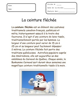 FRENCH FSL Spelling Test and Grammar Analysis for CARNAVAL