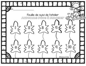 FRENCH Fall Playdough Mats/ Nombres AUTOMNE en pâte à modeler