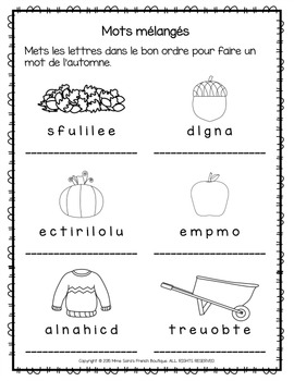 FRENCH Fall themed literacy centres - automne