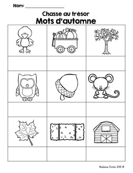 FRENCH {Fall words Scavenger Hunt}/ Automne {chasse aux mots}